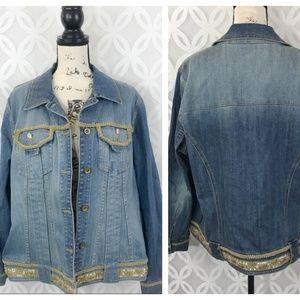 INC International Concepts Embellished Jean Jacket